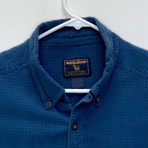 Woolrich Mens Designer Shirt Blue Checks XL